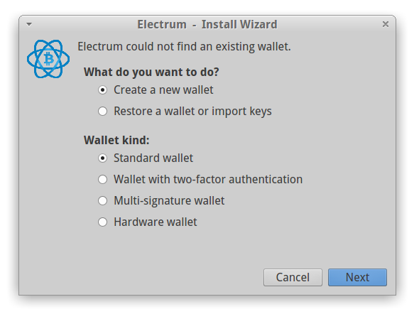 select type of Electrum wallet